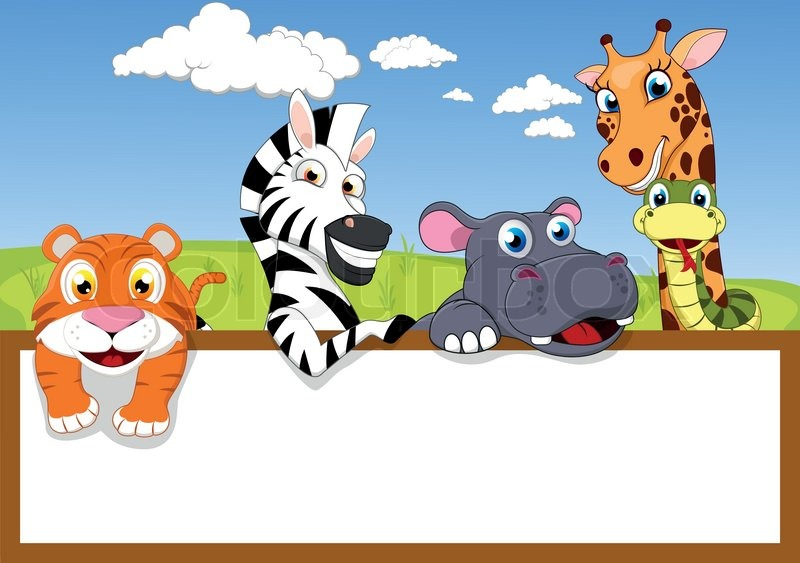 800x563 Vector Illustration Of Zoo Animal With Wooden Sign Stock Vector