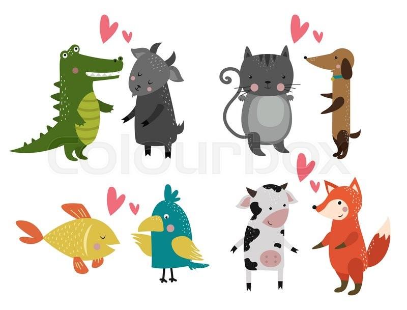 800x609 Wild Animal Zoo Banner Vector Cartoon Set. Wild Vector Animals