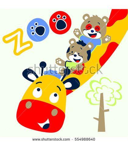 420x470 Giraffe And Friends Cheerful In The Zoo Vector Cartoon