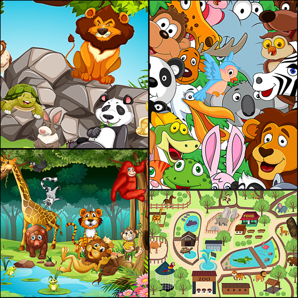 1000x1000 Animals Background And Map Placement In A Zoo Vector Free Download