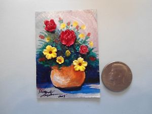 300x225 Orange Pot With Flowers 3d Aceo Acrylic Miniature Painting By
