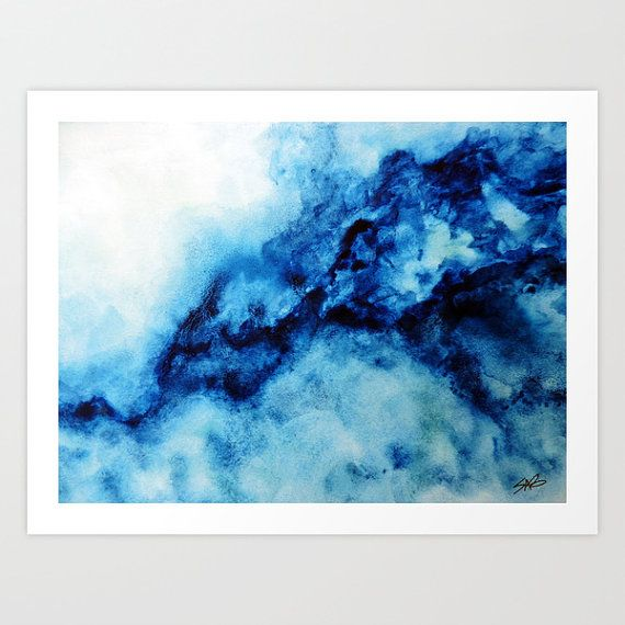 570x570 Blue Watercolor Print, Wall Art, Abstract Canvas Art, Large Canvas