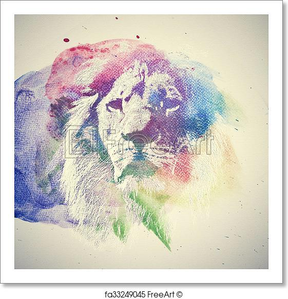 561x581 Free Art Print Of Watercolor Painting Of Lion. Abstract, Colorful