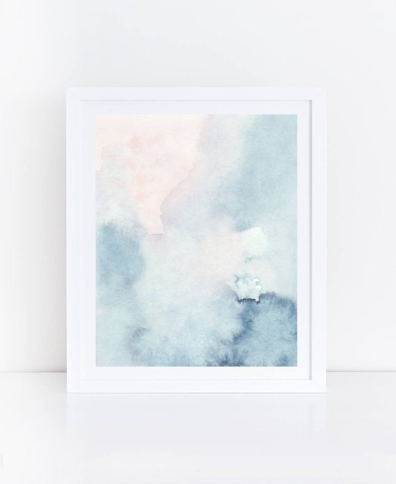 570x697 Printable Abstract Art Watercolor Wall Art Sky Print Blue Etsy