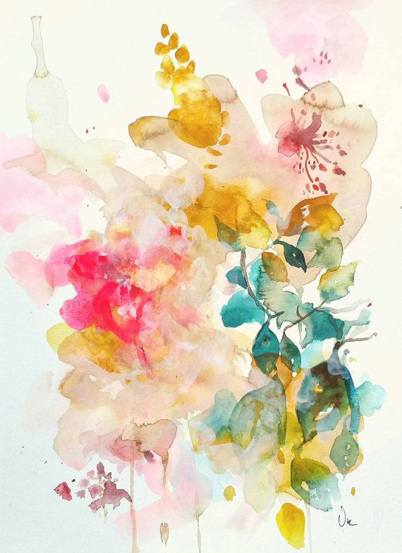 570x783 Watercolor Painting, Abstract Original Art ,beautiful Floral