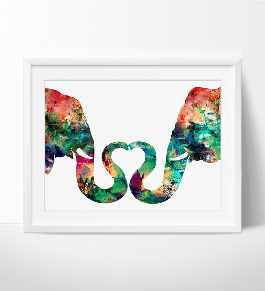 547x600 Abstract Painting, Elephant Love, Watercolor Print, Abstract