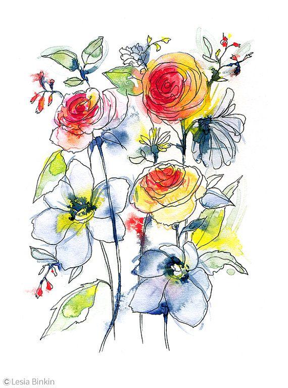 570x768 Flower Painting, Watercolor Flower, Watercolor Flower Print