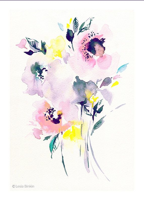 570x792 Fresh Pink, Pink Flower, Watercolor Art, Floral Painting, Abstract