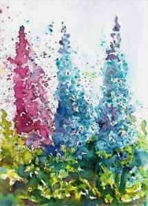 215x300 Aceo Original Foxgloves Flowers Watercolour Painting Abstract
