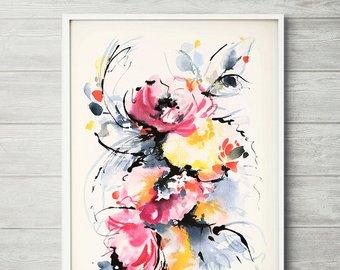 340x270 Watercolor Painting Pink Watercolor Print Pink Floral Art