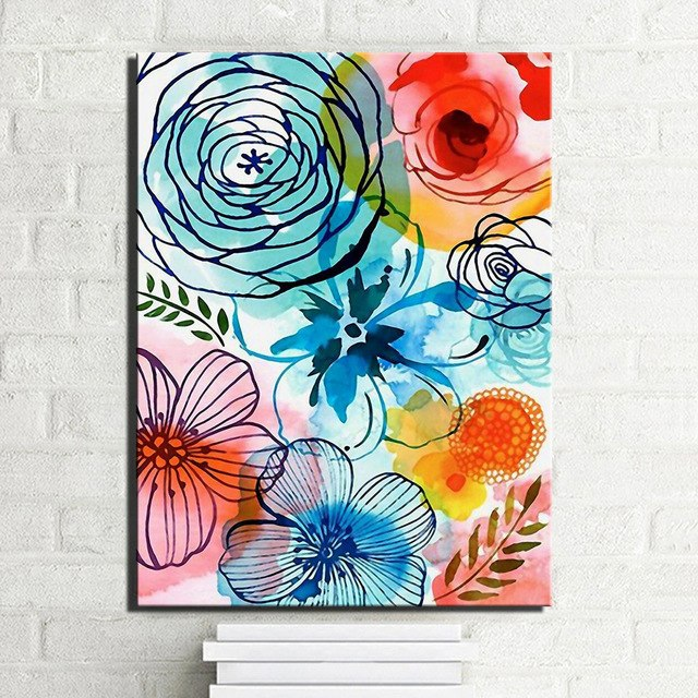 640x640 Abstract Watercolor Flowers Canvas Prints On Canvas Large Colorful