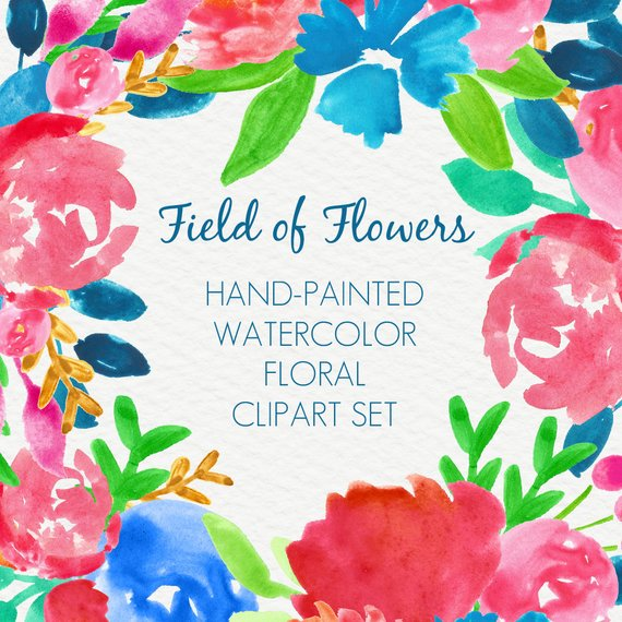 570x570 Abstract Watercolor Flowers Floral Clipart Clip Art Digital Etsy