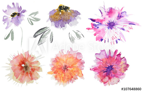 500x321 Abstract Watercolor Flowers