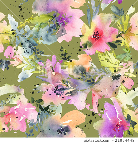 450x468 Abstract Watercolor Flowers. Seamless Pattern