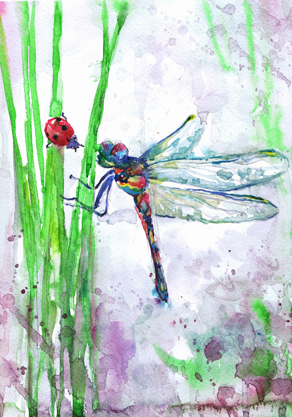 570x813 Abstract Dragonfly Art Dragonfly Art Insect Print Abstract