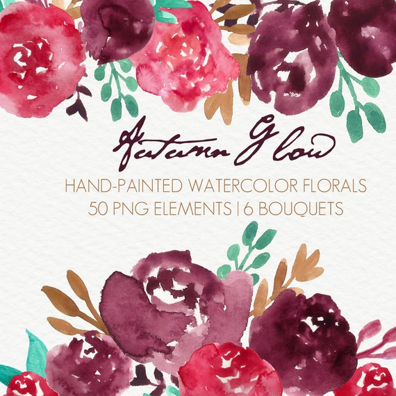 570x570 Autumn Glow Abstract Watercolor Flowers Floral Clip Art Etsy