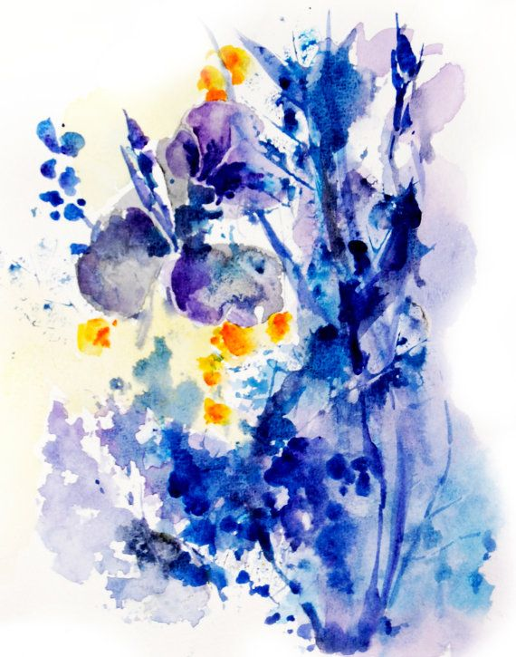 570x725 Blue Abstract Flowers Watercolor Painting Art Print Floral Dise O