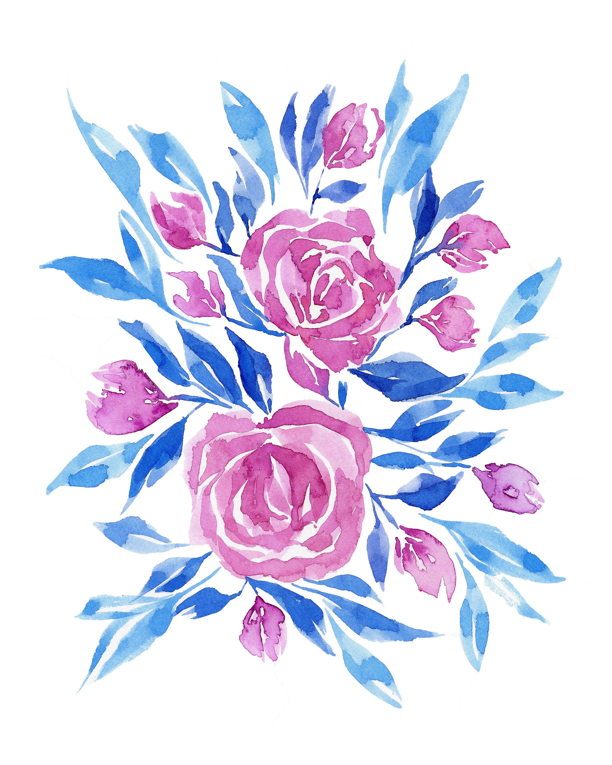 2400x3000 Blue And Pink Floral Watercolor Print No.11, Watercolor Floral Art