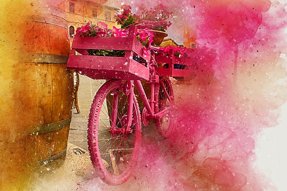 960x640 Free Photo Abstract Watercolor Flowers Bicycle Art Vintage