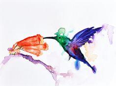 Abstract Watercolor Hummingbird