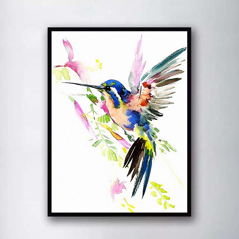 1000x1000 Nordic Watercolor Hummingbird Bird Abstract Wall Art Paint Wall