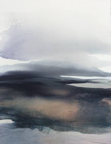 375x485 And The Wind Caressed The Land... Abstract Watercolor Landscape