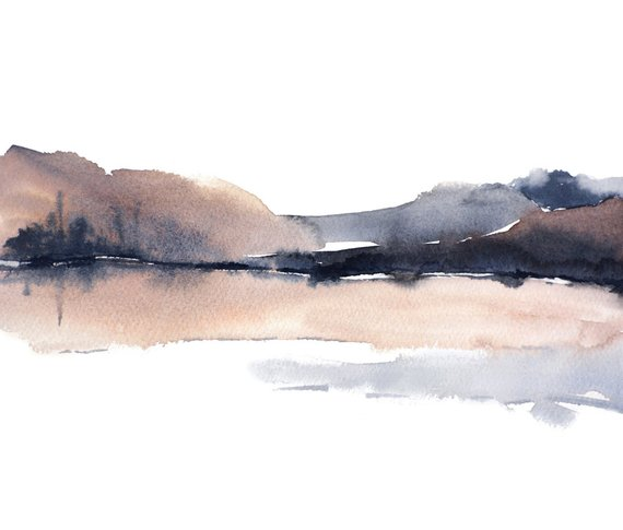 570x485 Landscape Abstract Watercolor Print Grey Brown White Black Etsy