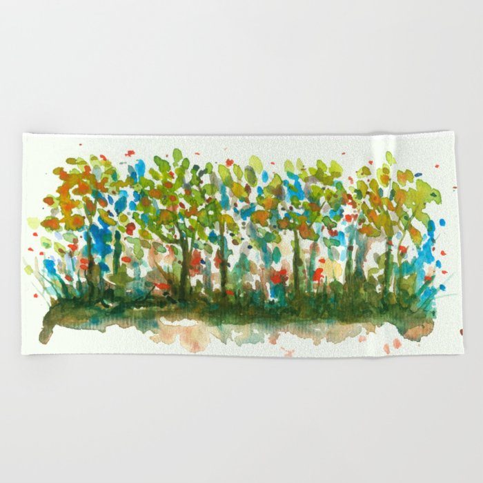 700x700 Silent Woods, Abstract Watercolors Landscape Art Beach Towel By
