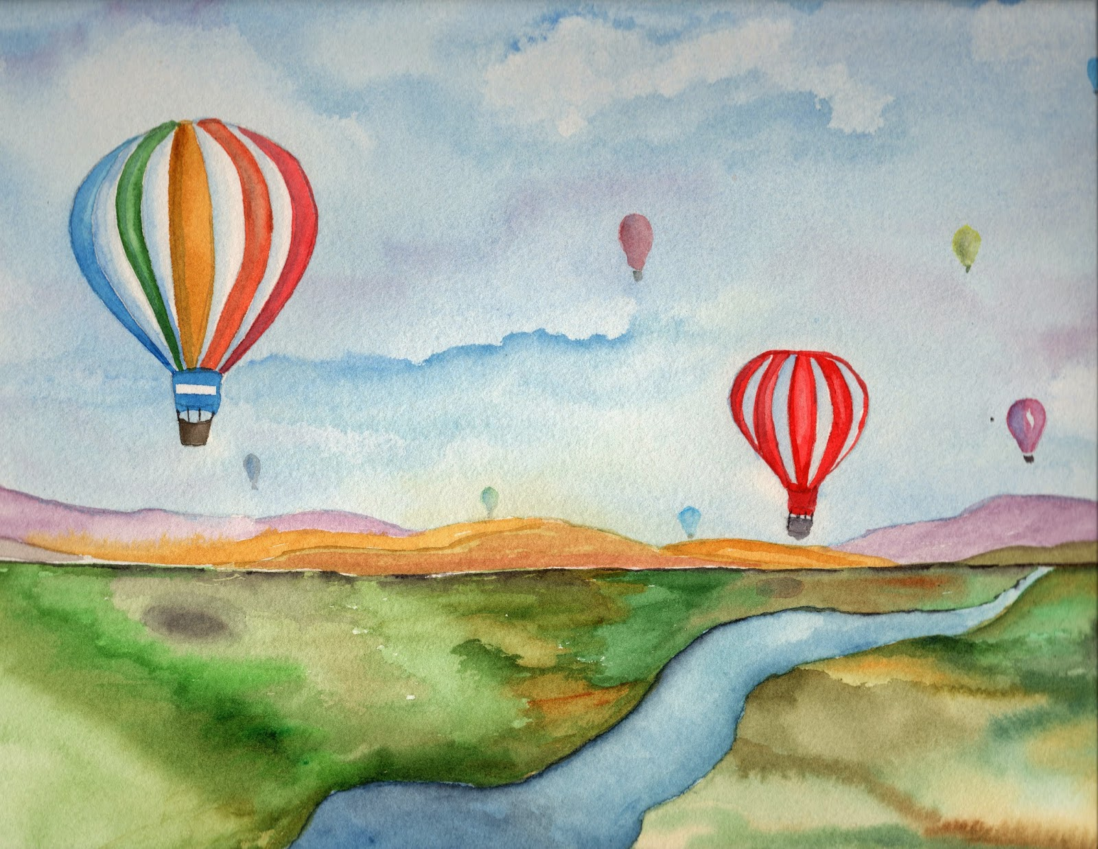 1600x1237 Watercolor Paintings And Mobiles By Carolyn Weir Balloon Race