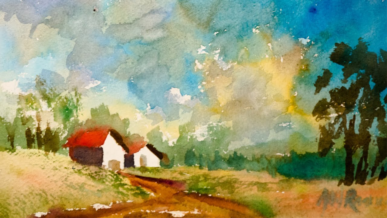 1280x720 Abstract Landscape In Watercolor
