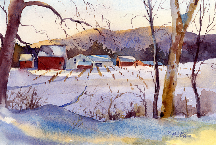 760x511 Golden Early Sun On Snow Landscape Painting Vermont