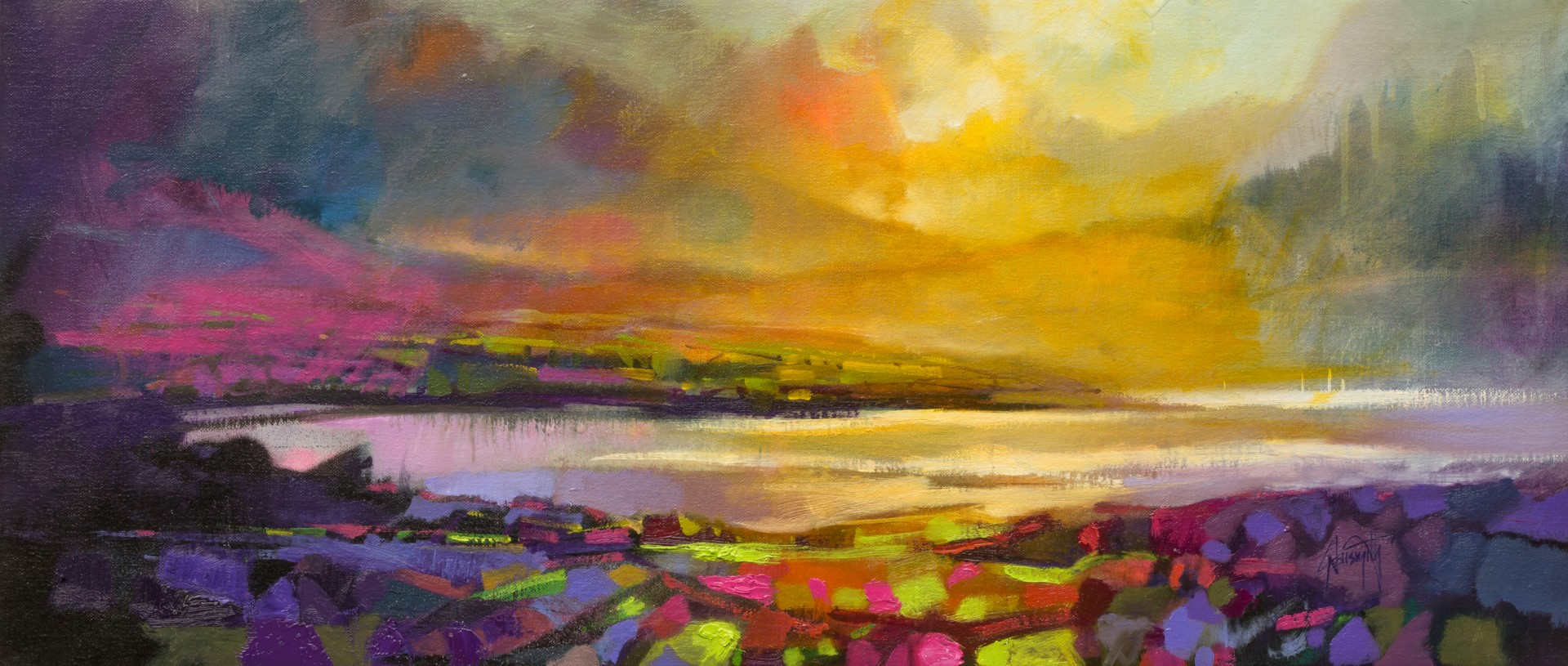 1920x815 Highland Heather Semi Abstract Scottish Landscape Painting
