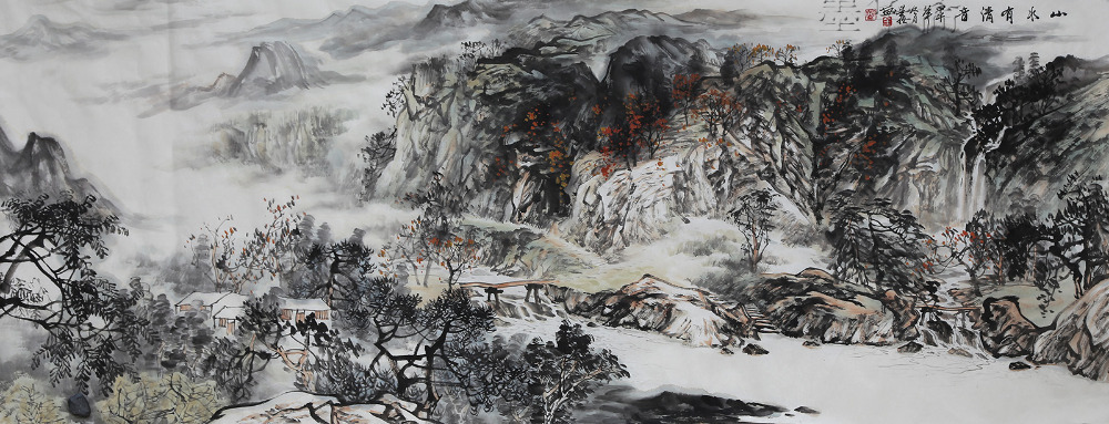 1000x383 Original Asian Chinese Landscape Painting Famous Watercolor Ink