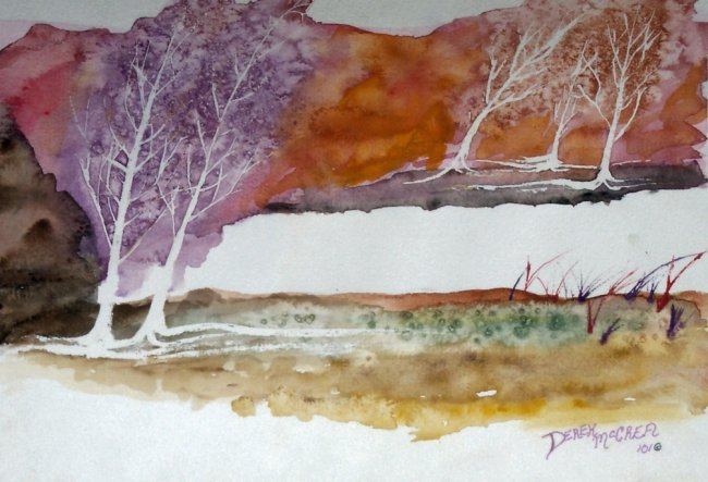 650x443 Tranquility Abstract Landscape Painting, Watercolor, Landscape
