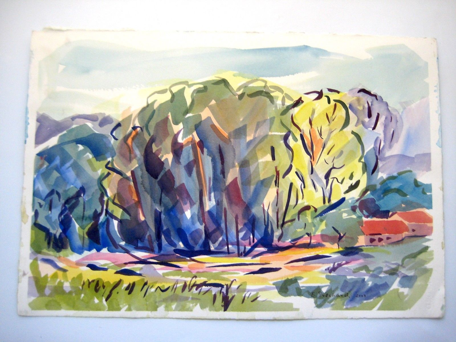 1600x1200 Abstract Watercolor Landscape Painting 22 X 15 By E Pritchard