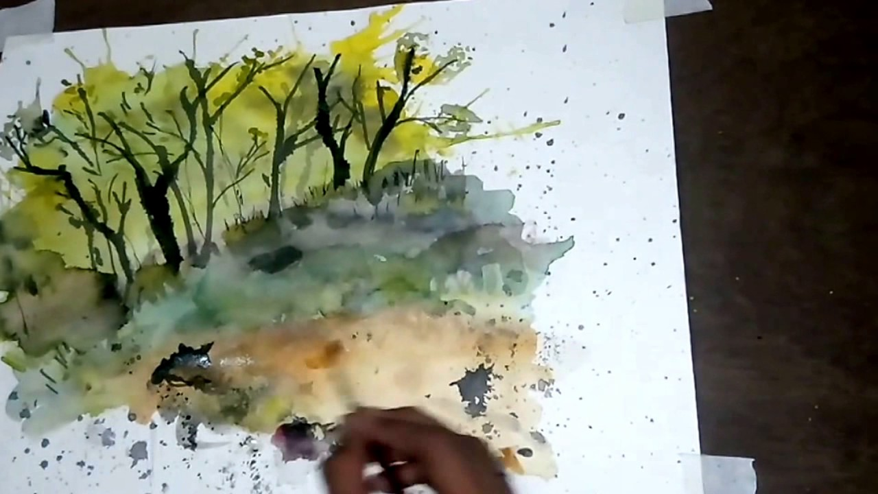 1280x720 Watercolor Abstract Landscape Painting Using Watercolors