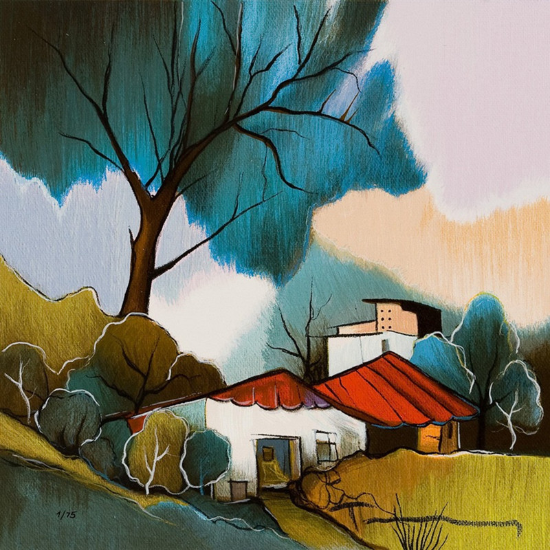 800x800 Free Shipping Abstract Watercolor Tree House Landscape Oil
