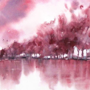 354x354 Abstract Landscape Watercolor Painting, From Nancyknightart.etsy.