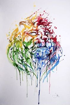 Abstract Watercolor Lion