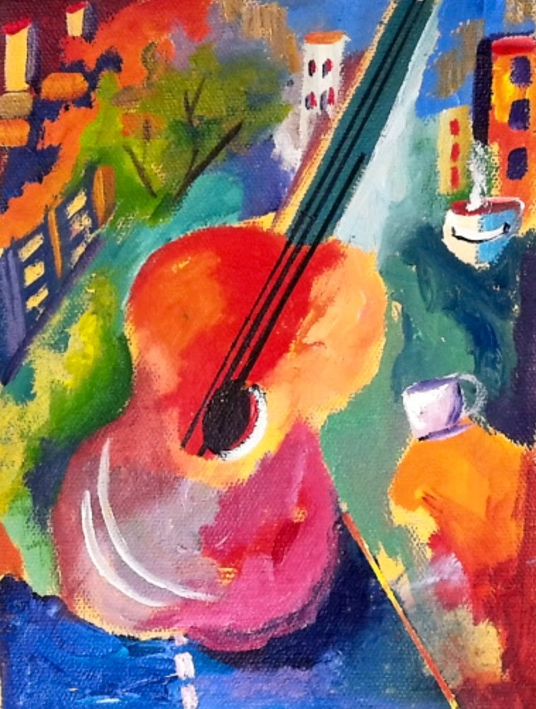 758x1002 Beginners Abstract Turorial Of Art Guitar With Vibrant Colors Step