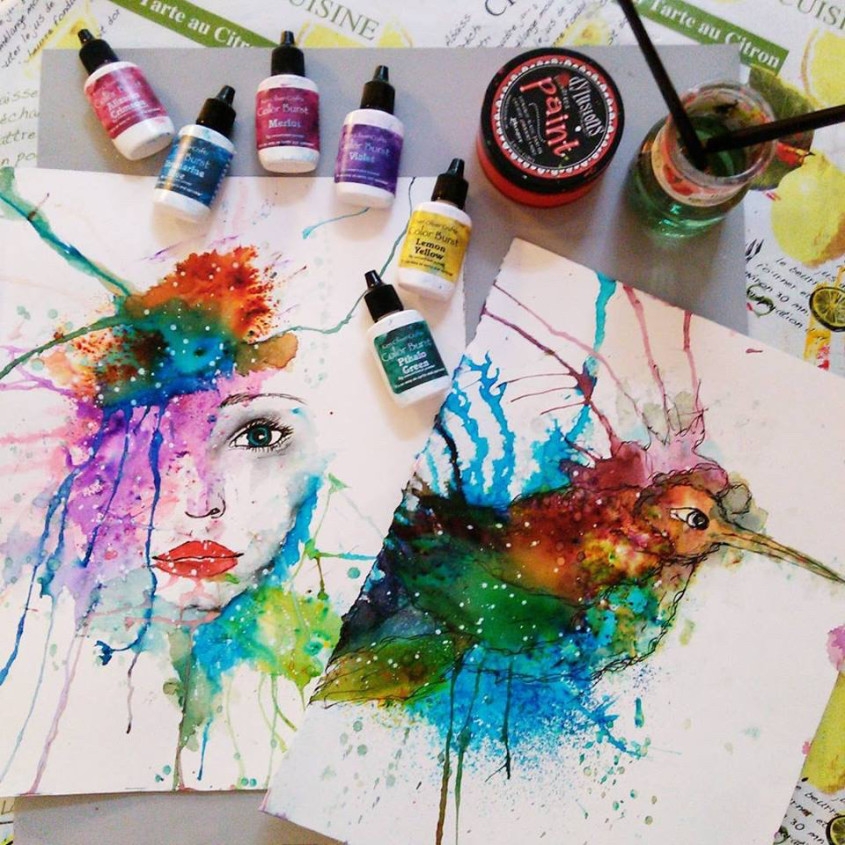 845x845 Loose Watercolor Technique Ken Oliver Color Burst Mixed Media