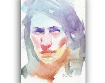 340x270 Original Watercolor Portrait Painting Colorful Portrait Wall Etsy