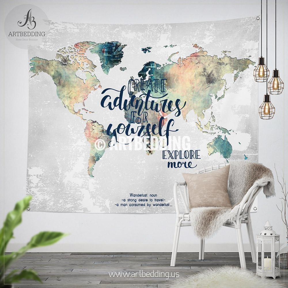 1000x1000 Adventure Wall Tapestry, World Map Watercolor Wall Hanging, Grunge