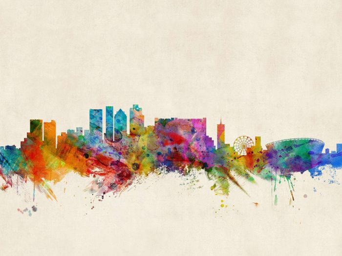 700x525 Cape Town South Africa Watercolour Skyline
