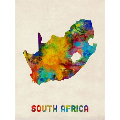 458x458 South Africa Watercolor Map Art Canvas Print