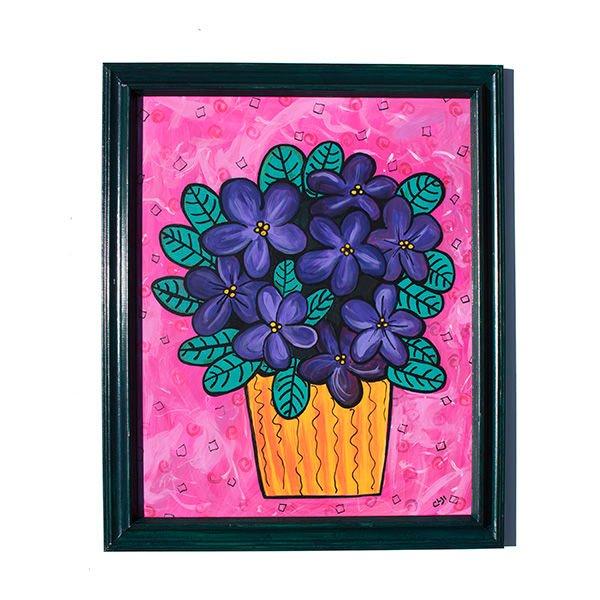 600x600 African Violets Painting Original Purple Floral Art Purple