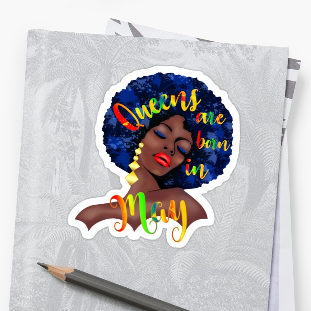 1000x1000 Black Queen Are Born In May T Shirt Afro Hair Watercolor