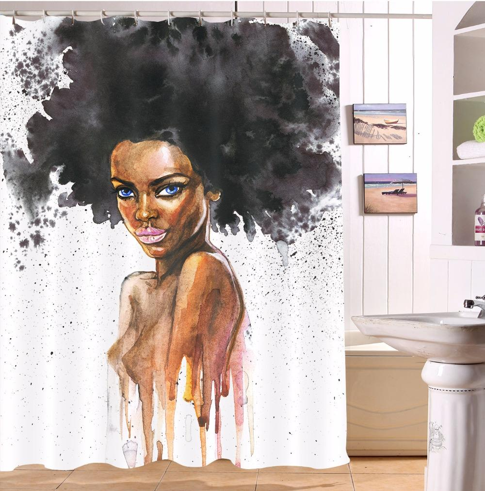1000x1012 Watercolor Afro Black Woman Bathroom Polyester Black Girl Shower