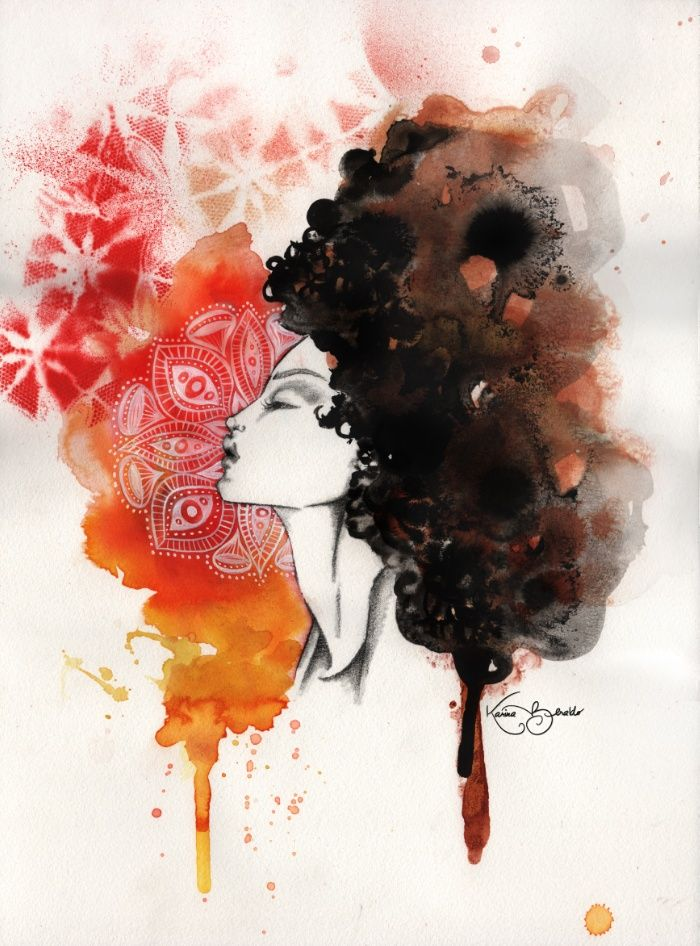 700x946 Woman, Watercolor, Afro, Black Power, Portrait, Black People