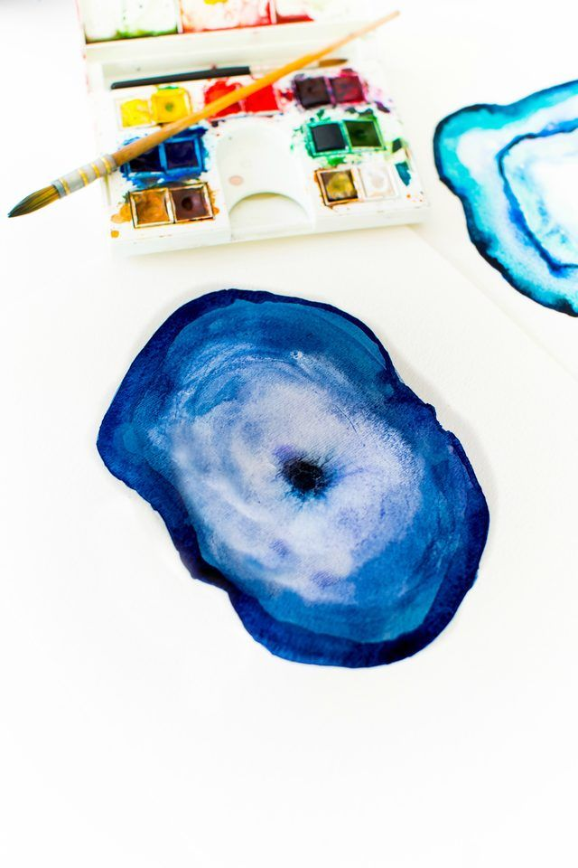 640x960 Diy Agate Watercolor Painting Watercolor, Paintings And
